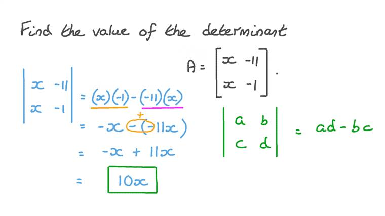 Evaluating a Determinant in Terms of 𝑥
