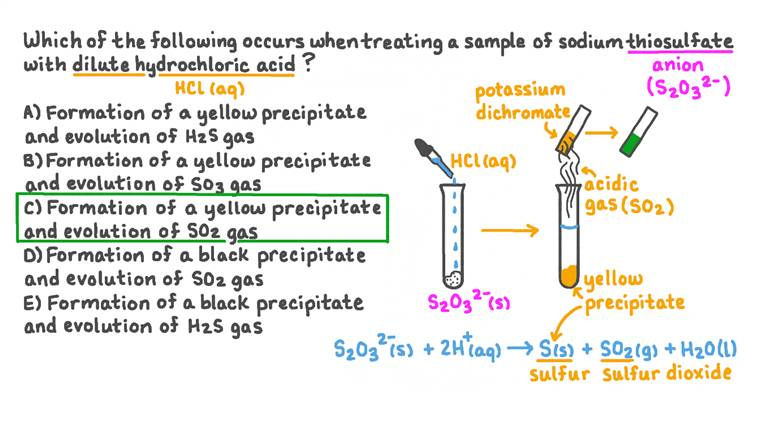 Déterminer la couleur du précipité et la nature du gaz formé lorsque le thiosulfate de sodium est testé avec de l'acide chlorhydrique dilué