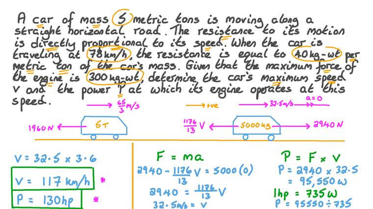 Calculating Power Based on Force and Speed