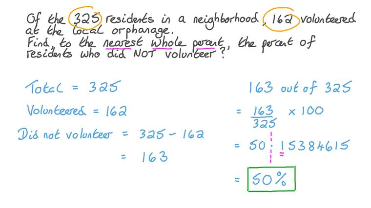 Calculating Percentages That Describe Relations between Numbers in Word Problems