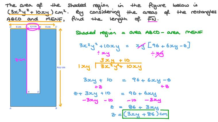 Performing Arithmetic Operations on Algebraic Expressions to Find the Length of a Side in a Composite Figure