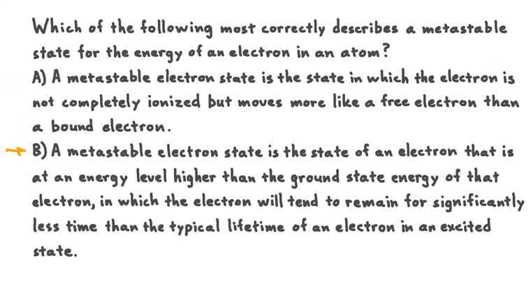 Décrire un état électronique métastable