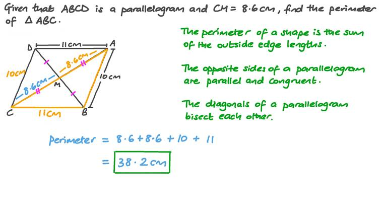 Finding the Perimeter of a Triangle using Properties of Parallelograms