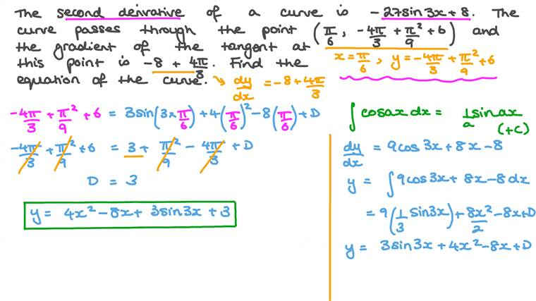 Finding the Equation of a Curve given Its Second Derivative and the Slope of That Tangent at a Point on the Curve