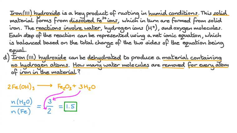 Les équations ioniques de la transformation de l'hydroxyde de fer (III) lors du processus de formation de la rouille