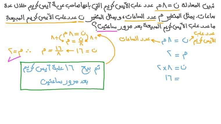 إيجاد قيم المتغيرات في معادلات خطية معطاة بالتعويض المباشر