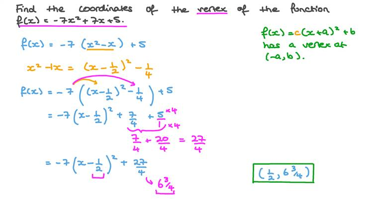 Finding the Coordinates of Vertices of Quadratic Functions