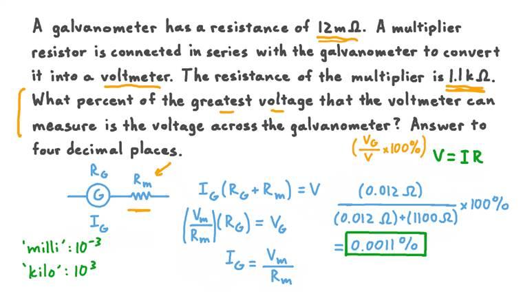 Comparer la tension aux bornes d'un voltmètre et d'un galvanomètre