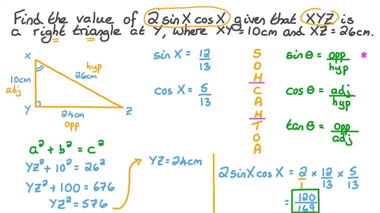Déterminer le sinus et le cosinus d'un angle dans un triangle rectangle à partir des longueurs de deux côtés
