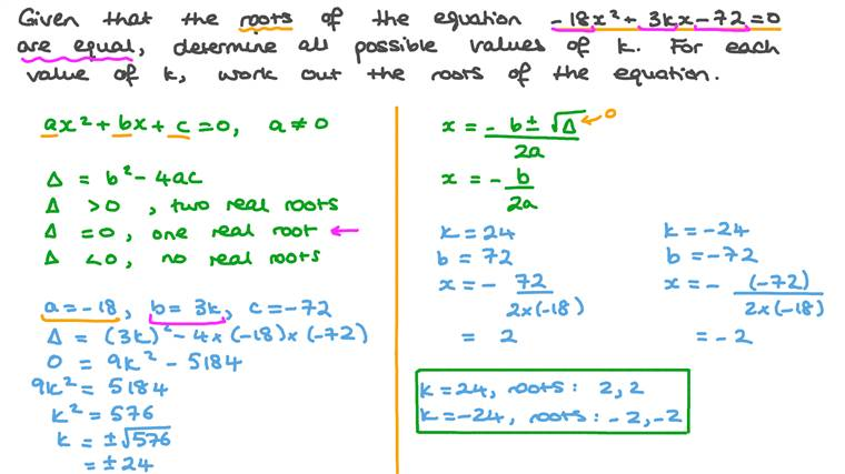 Finding an Unknown in a Quadratic Equation Given That Its Roots Are Equal