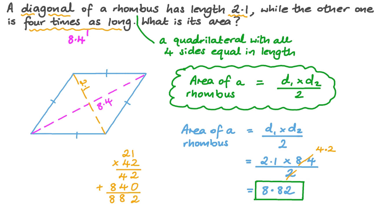 Finding the Areas of Rhombuses Regarding Area Of Rhombus Worksheet
