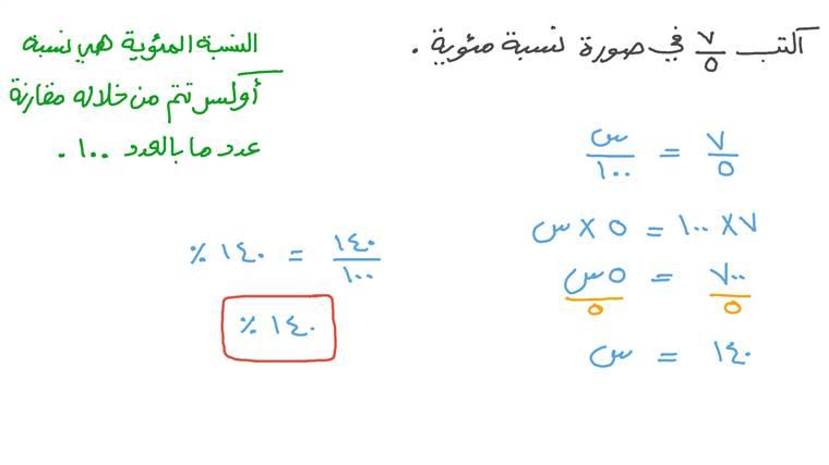 إيجاد النسبة المئوية لجزء مقارنة بالكل للكسور البسيطة