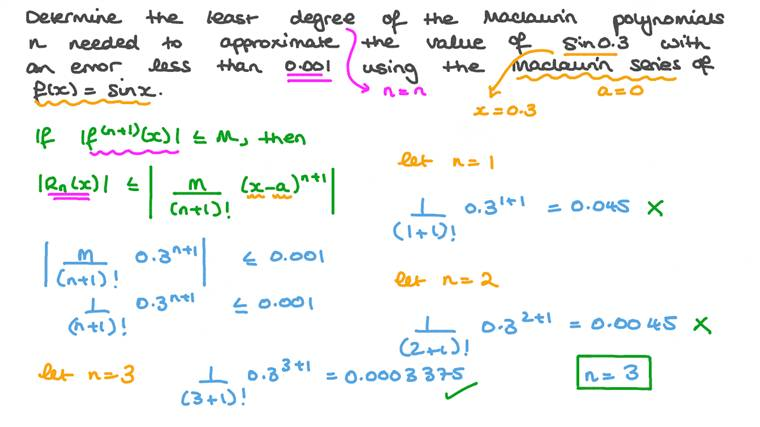Approximating Error Using Maclaurin Series