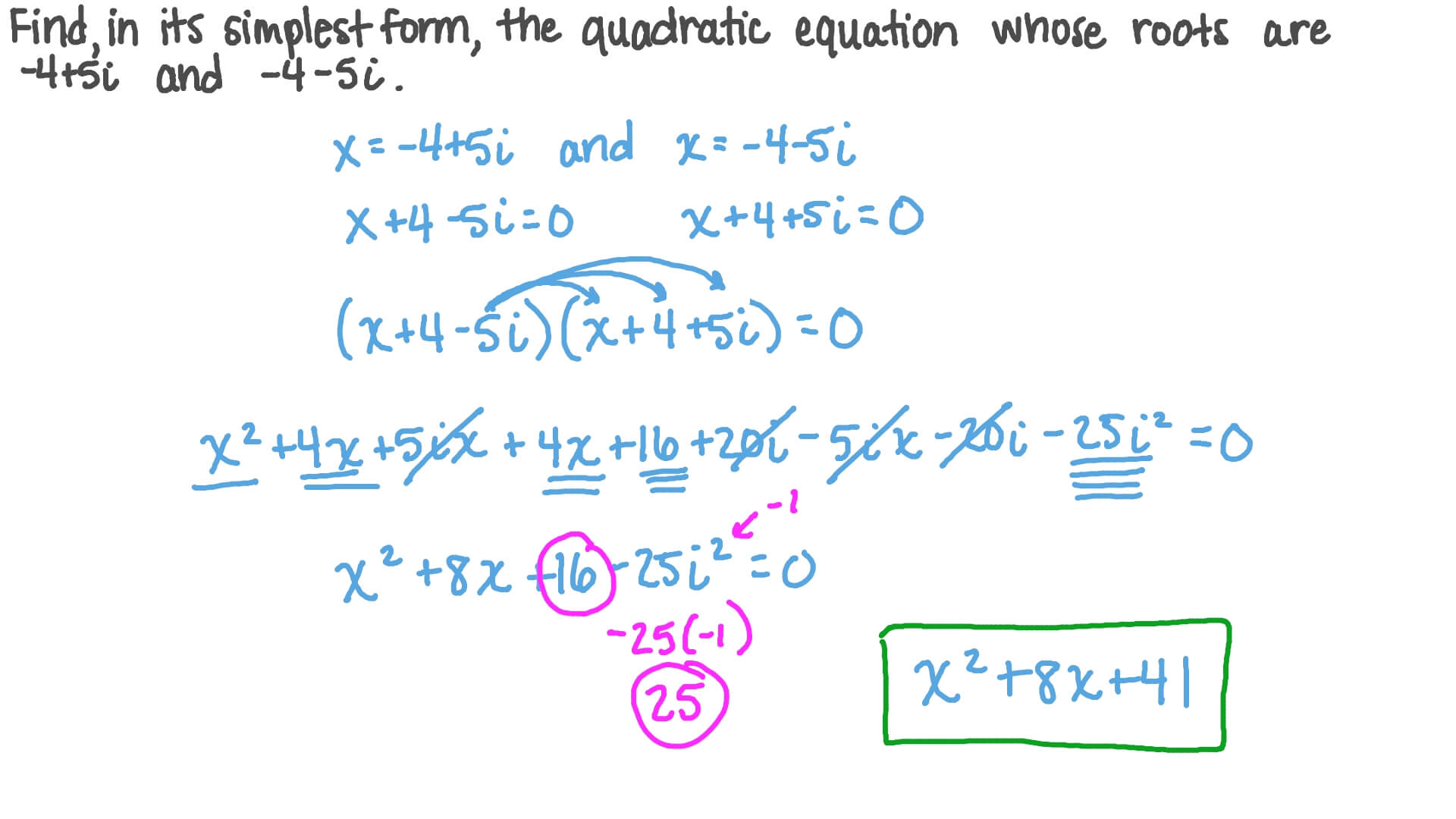 simplest form quadratic equations  Forming a Quadratic Equation in the Simplest Form given Its Roots Involving  Complex Numbers