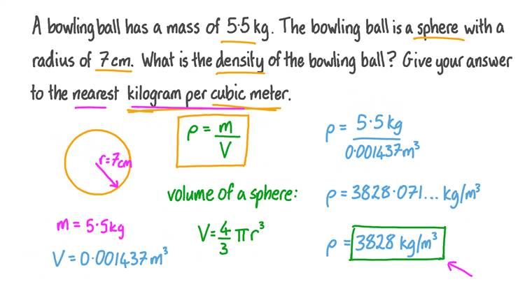 Finding the Density of a Sphere given Its Mass and Radius