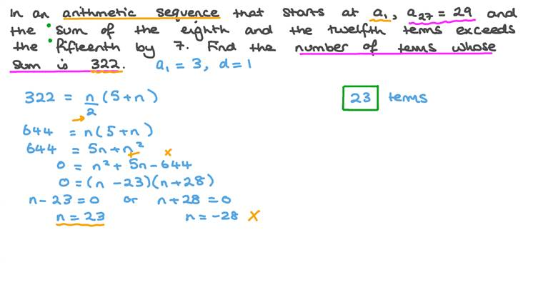 Finding the Number of Terms of an Arithmetic Sequence given the Sum of All the Terms Under a Given Condition