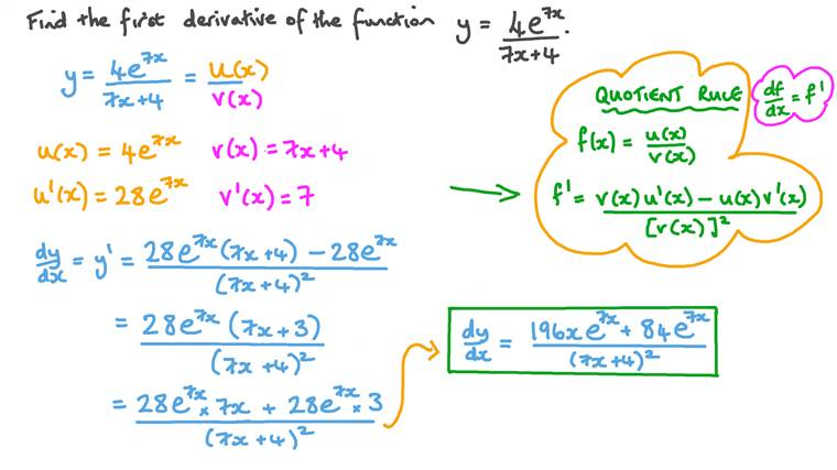 Differentiating Combinations of Exponential and Polynomial Functions Using the Quotient Rule