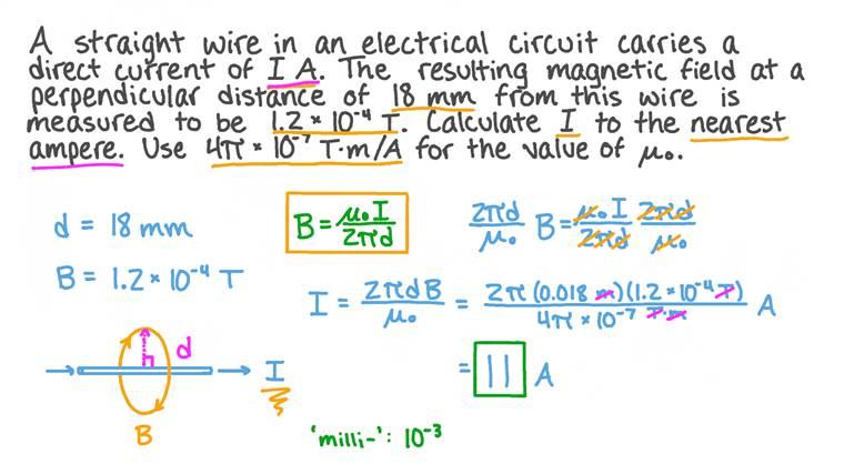 Calcul du courant dans un fil droit connaissant l'intensité du champ magnétique