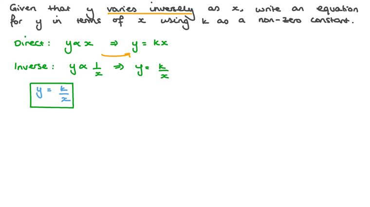 Writing Equations to Represent Inverse Variation