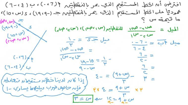 إيجاد قيمة الإحداثي ﺱ لنقطة تقع على خط مستقيم مواز لخط مستقيم آخر بمعلومية إحداثيات ثلاث نقاط تقع عليهما