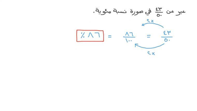 كتابة كسر في صورة نسبة مئوية