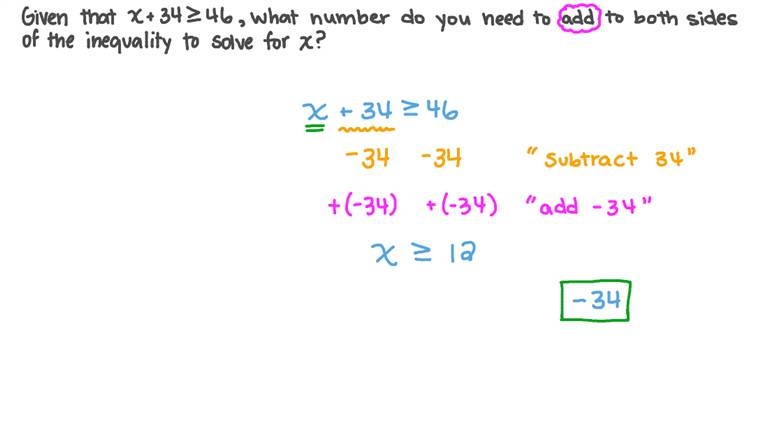 Adding a Certain Number to Both Sides of an Inequality to Solve It