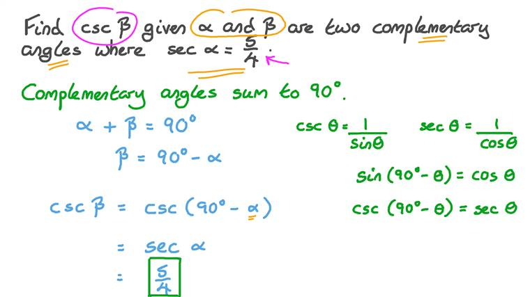Using Relationship between the Sines and Cosines of Complementary Angles to Find the Value of a Trigonometric Function