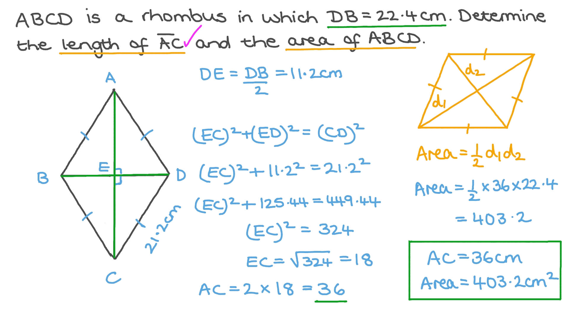 Finding the Area of the Rhombus given Its Side Length and the Length of One  Diagonal With Area Of Rhombus Worksheet