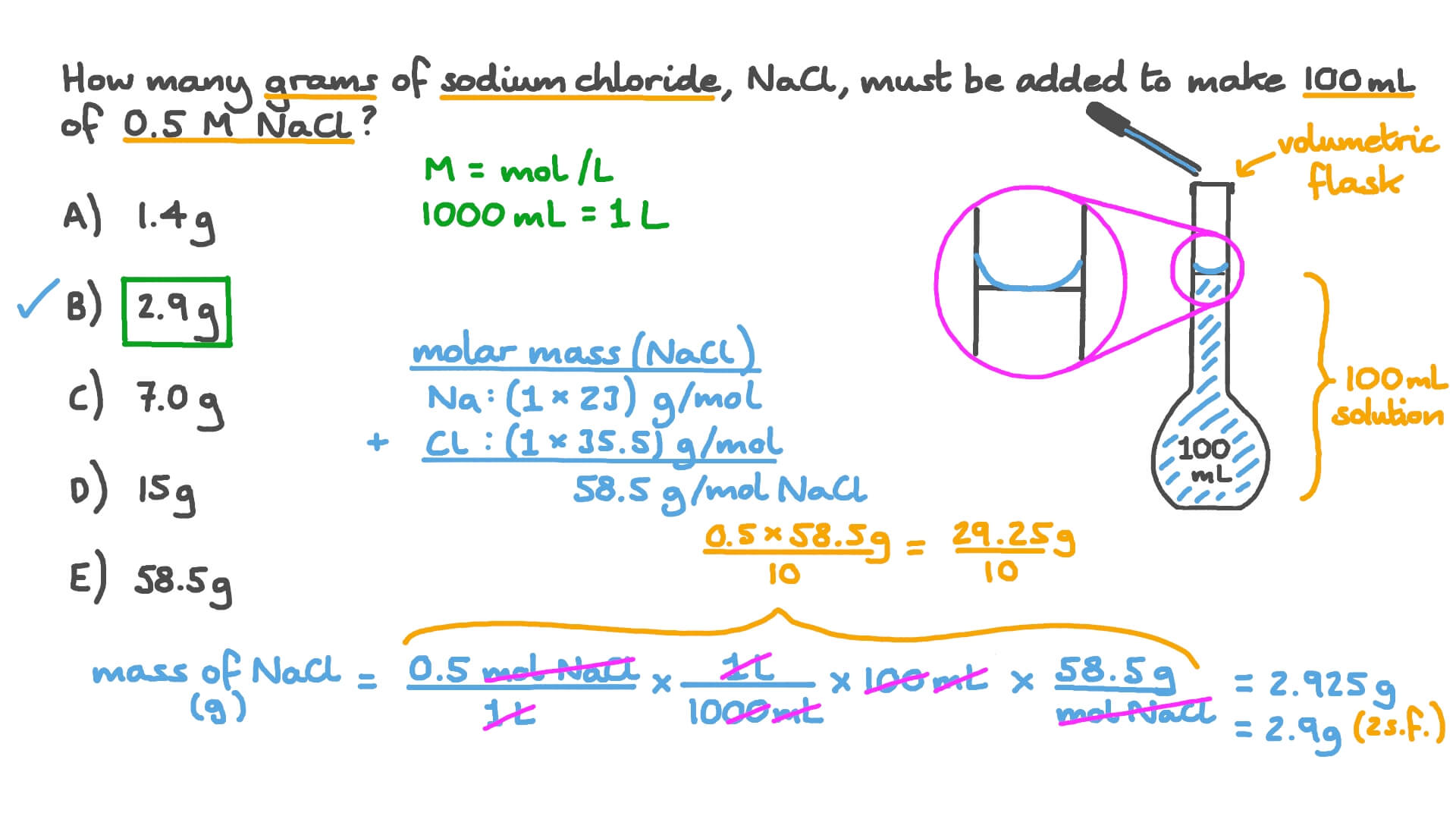 Video: Calculating the Mass of Sodium Chloride Required to Make a Given  Volume of Solution of a Given Concentration | NagwaNagwa