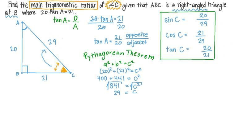 Déterminer tous les rapports trigonométriques des angles dans les triangles rectangles