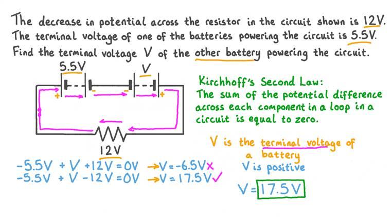 Utiliser la deuxième loi de Kirchhoff pour calculer une différence de potentiel dans un circuit en série
