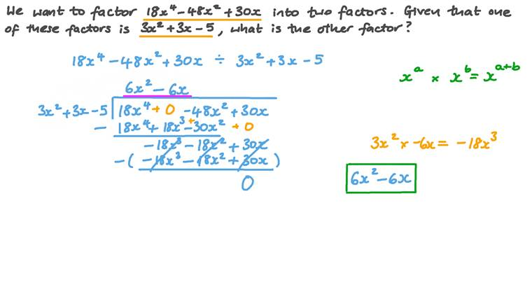 Dividing Third-Degree Polynomials Using Long Division to Find a Factor of a Polynomial