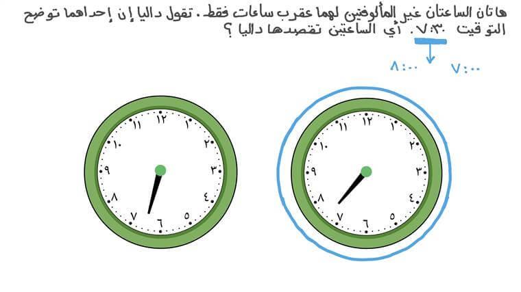 قراءة الساعة عندما يقع عقرب الساعات بين عددين