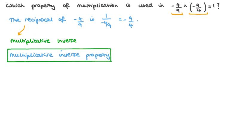 Identifying the Appropriate Multiplication Property given a Certain Multiplication Equation