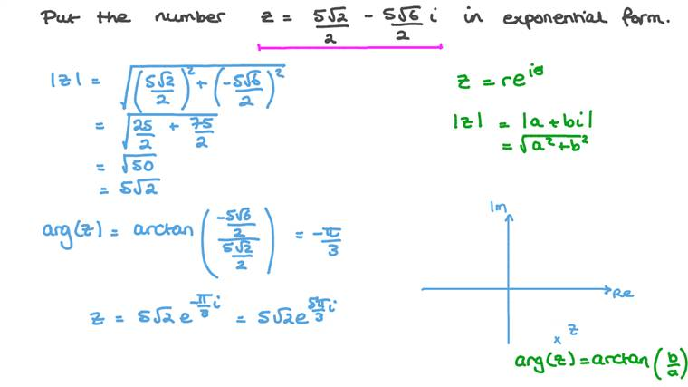 Converting Complex Numbers from Algebraic to Exponential Form