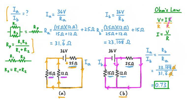 Détermination du rapport du courant total dans deux circuits