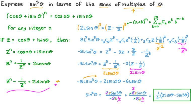 Déterminer une expression équivalente au cube de la fonction sinus