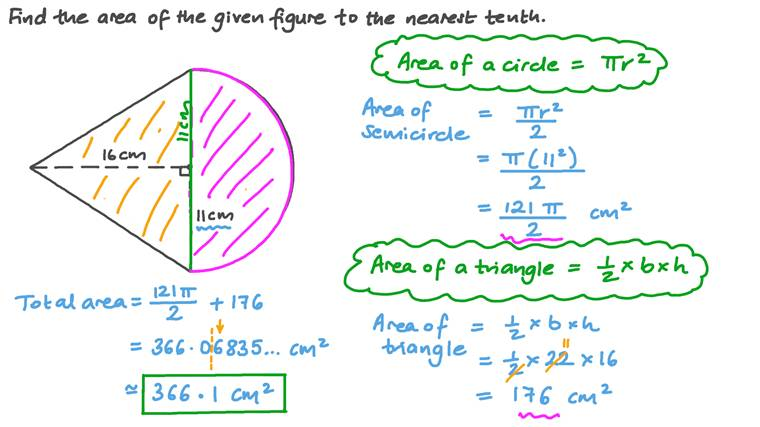 Finding the Area of a Composite Figure Involving a Triangle and a Semicircle