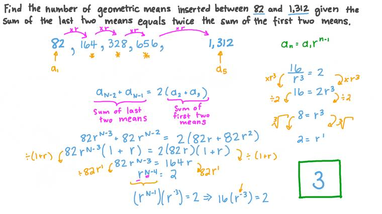 Finding the Number of Geometric Means Inserted between Two Numbers under a Given Condition