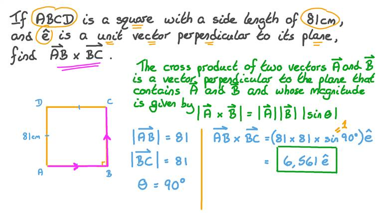 Finding the Cross Product of Vectors of Square