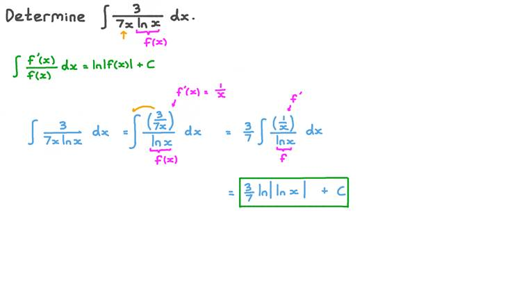 Finding the Integration of a Function Involving a Logarithmic Function Using Integration by Substitution