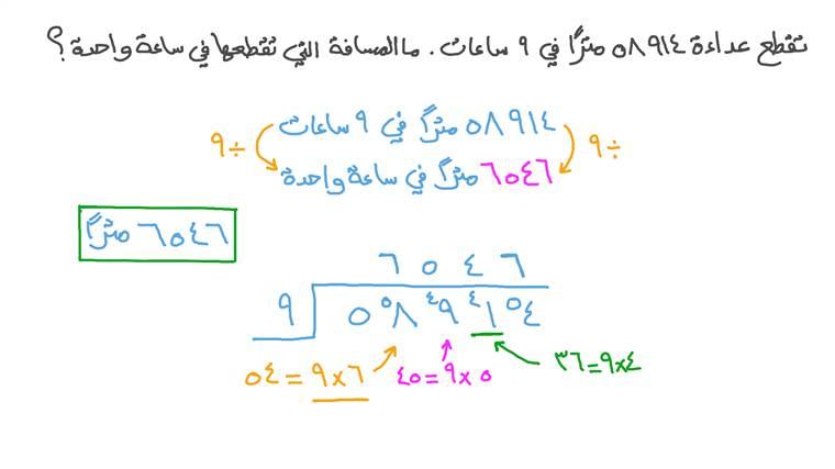 حل المسائل الكلامية التي تتضمن قسمة الأعداد المكونة من عدة أرقام