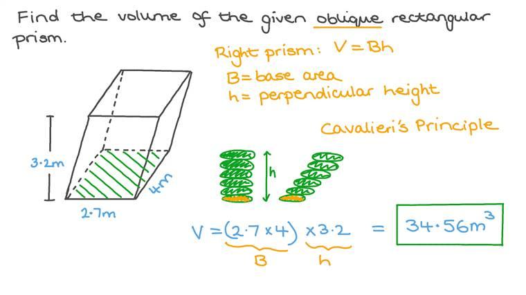 Calculer le volume d'un prisme rectangulaire oblique