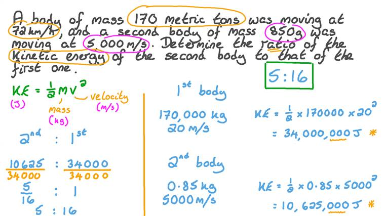 Finding the Ratio between the Kinetic Energies of Two Moving Bodies