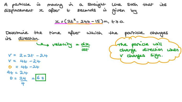 Determining the Duration after Which a Particle Changes Its Direction given Its Displacement with Respect to Time
