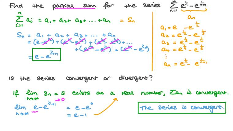 Finding the Partial Sum of a Series and Deciding Whether the Series Is Convergent or Divergent