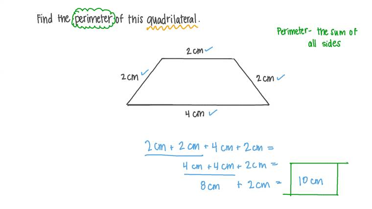 Finding the Perimeter of a Quadrilateral given Its Dimensions