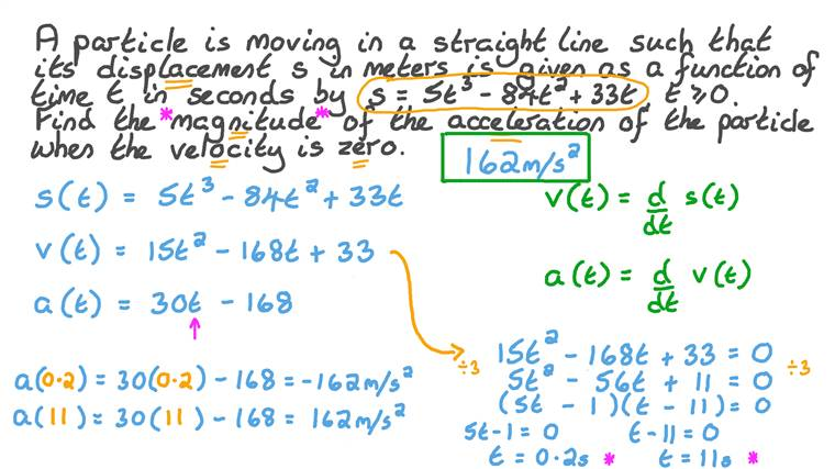 Finding the Magnitude of the Acceleration If the Velocity Is Uniform