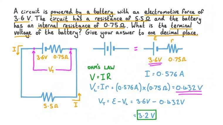 Calcul de la tension aux bornes d'une batterie