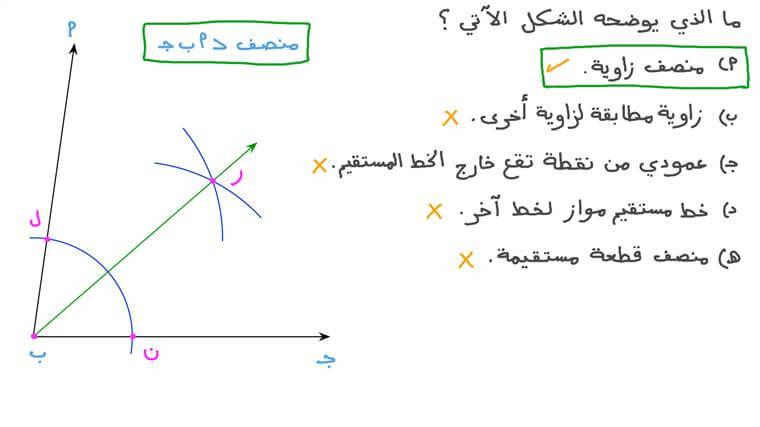 التعرف على شكل منصف الزاوية